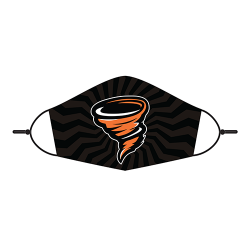Adjustable Face Mask - Little Cyclone Mascot Black Tonal Zig Zag Design
