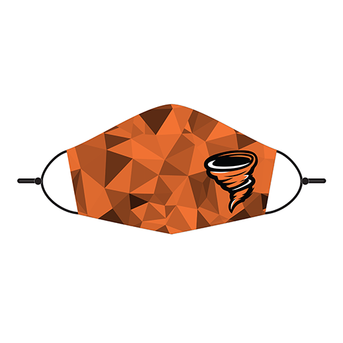 Adjustable Face Mask - Little Cyclone Mascot Orange Geometric Design